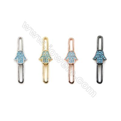 Brass Little Charms  (Gold Platinum Rose Gold Gun Black) Plated  CZ Micropave  Hand  Size 31x9mm  12pcs/pack