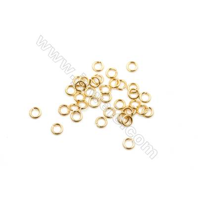 Brass Plated Gold Open Jump Ring  Round  Diameter 4mm  Wire 0.65mm  1 000pcs/pack