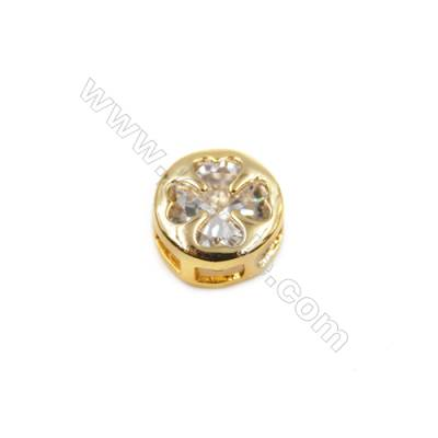 Brass Plated Gold Little Charms  CZ Micropave  Round  Diameter 8mm  Hole 4.5mm  30pcs/pack