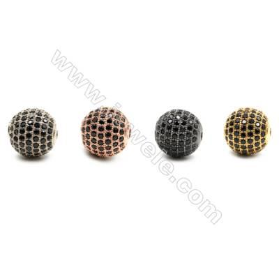 Brass Beads, (Gold, Platinum, Rose Gold, Gun Black)Plated, Round, CZ Micropave, Diameter 12mm, Hole 1.5mm, 5pcs/pack
