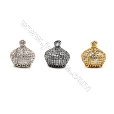 Brass Pendants  (Gold Platinum Gun Black)Plated  CZ Micropave  Hat  Size 15x16mm  4pcs/pack