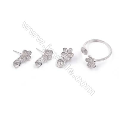 Flower jewelry set findings platinum plated zircon micro pave earrings & ring & pendant for half drilled beads