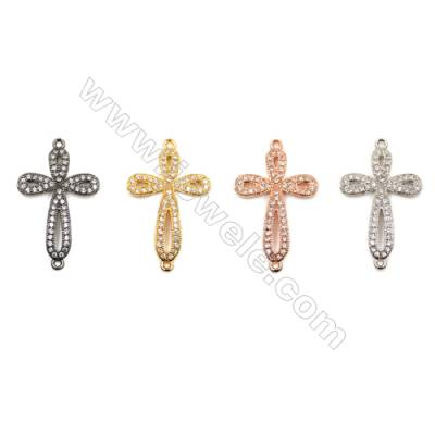 Brass Connectors, (Gold, Platinum, Rose Gold, Gun Black) Plated, Cross, CZ Micropave, Size 15x21mm, Hole 1mm, 12pcs/pack
