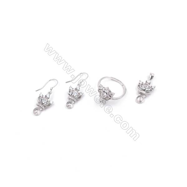 Platinum plated 925 sterling silver jewelry set findings  Crown  micro pave Cubic Zirconia  fit for half drilled beads