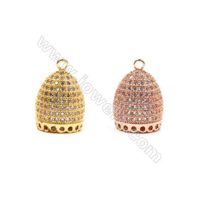 Brass Pendants  (Gold Rose Gold)Plated  CZ Micropave  Admiralty  Size14x10mm  4pcs/pack