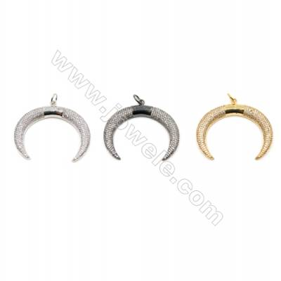 Brass Pendants  (Gold Platinum Gun Black)Plated  CZ Micropave  Moon  Size 33x44mm  3pcs/pack