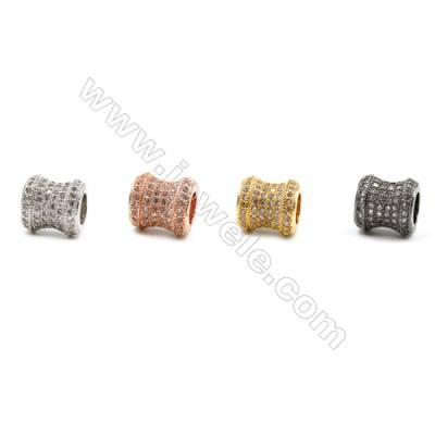 Brass Beads, (Gold, Platinum, Rose Gold, Gun Black)Plated, Column, CZ Micropave, Size 8x9mm, Hole 4mm, 8pcs/pack