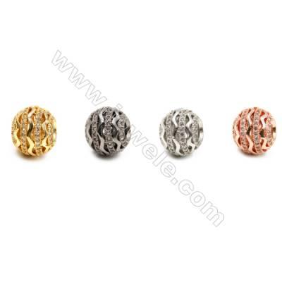 Brass Grand Hole Beads, CZ Micropave, Hollow Lantern, Size 10x12mm, Hole 5mm, 10pcs/pack