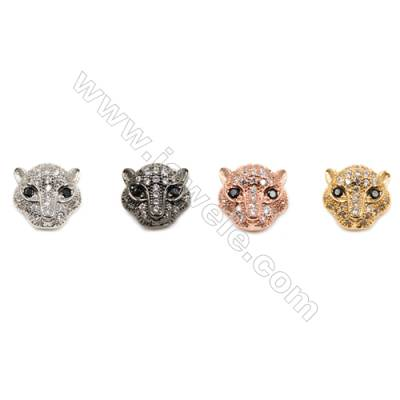 Brass Beads, (Gold, Platinum, Rose Gold, Gun Black)Plated, Little Lion, CZ Micropave, Size 11x11mm, Hole 1.5mm, 15pcs/pack