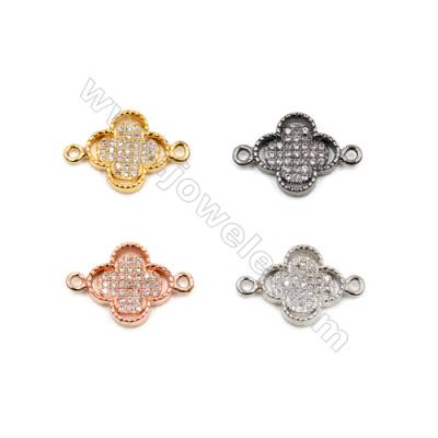 Brass Connectors, (Gold, Platinum, Rose Gold, Gun Black) Plated, Flower, CZ Micropave, Size 12x12mm, Hole 1.5mm, 15pcs/pack