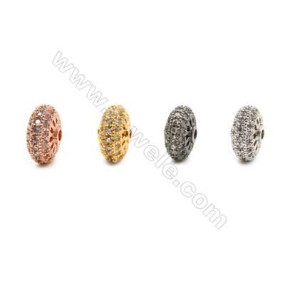 Brass Beads, (Gold, Platinum, Rose Gold, Gun Black)Plated, Round, CZ Micropave, Diameter 11mm, Hole 1.5mm, 12pcs/pack