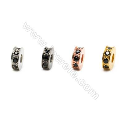Brass Spacer Beads  (Gold Platinum Rose Gold Gun Black) Plated  Round  CZ Micropave  Size 3x8mm  Hole 2.5mm  20pcs/pack