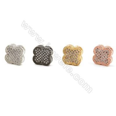 Brass Little Charms  (Gold Platinum Rose Gold Gun Black) Plated  CZ Micropave  Flower  Size 10x12mm  Hole 1.5mm  12pcs/pack