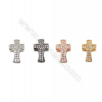 Brass Little Charms  (Gold Platinum Rose Gold Gun Black) Plated  CZ Micropave  Cross  Size 14x9mm  Hole 1.5mm  20pcs/pack