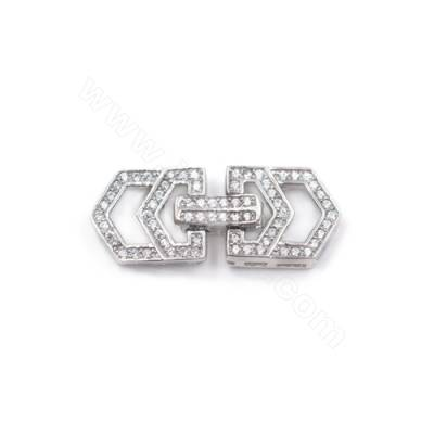 Zircon micro pave rhodium plated 925 sterling silver clasp connector for jewelry making-841102 10x24mm x 1pc