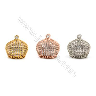 Brass Pendants  (Gold Platinum Rose Gold)Plated  CZ Micropave  Hat  Size 21x16mm  3pcs/pack