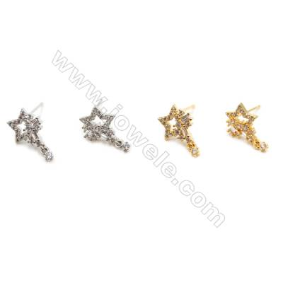 Brass Earrings  (Gold Platinum) Plated  Star  CZ Micropave  Size 16x10mm  Pin 0.8mm  16pcs/pack