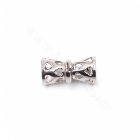 Sterling silver platinum plated hollow necklace clasp connector for jewelry making-841158 10x17mm x 1pc