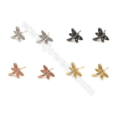 Brass Earrings  (Gold Platinum Rose Gold Gun Black) Plated  Dragonfly  CZ Micropave  Size 11x12mm  Pin 0.9mm  40pcs/pack