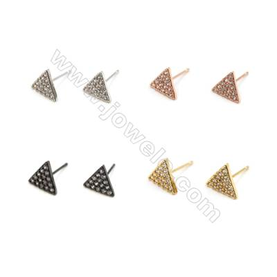 Brass Earrings  (Gold Platinum Rose Gold Gun Black) Plated  Triangle  CZ Micropave  Size 9x10mm  Pin 0.9mm  30pcs/pack