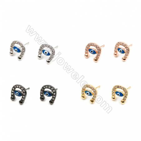 Brass Earrings  (Gold Platinum Rose Gold Gun Black) Plated  Eyes  CZ Micropave  Size 11x10mm  Pin 1mm  24pcs/pack
