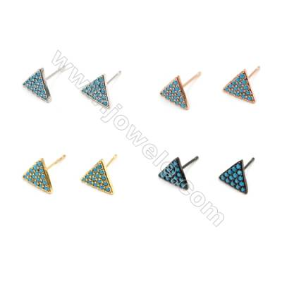 Brass Earrings  (Gold Platinum Rose Gold Gun Black) Plated  Triangle  CZ Micropave  Size 9x10mm  Pin 0.9mm  16pcs/pack
