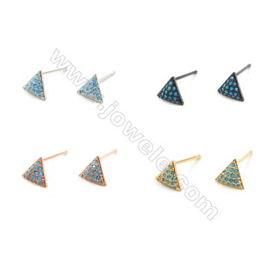 Brass Earrings  (Gold Platinum Rose Gold Gun Black) Plated  Triangle  CZ Micropave  Size 7x8mm  Pin 0.9mm  20pcs/pack