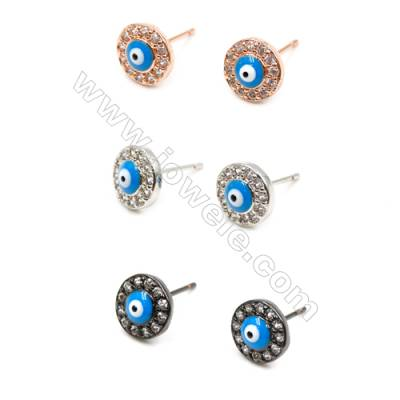 Brass Earrings  (Platinum Rose Gold Gun Black) Plated  Eyes  CZ Micropave  Size 9mm  Pin 0.8mm  24pcs/pack