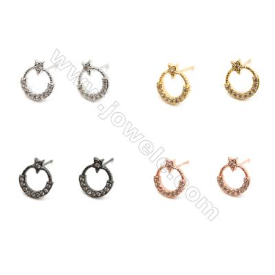 Brass Earrings  (Gold Platinum Rose Gold Gun Black) Plated  Ring  CZ Micropave  Size 11x10mm  Pin 0.8mm  40pcs/pack