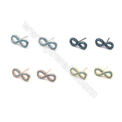 Brass Earrings  (Gold Platinum Rose Gold Gun Black) Plated  Figure 8  CZ Micropave  Size 6x16mm  Pin 0.8mm  10pcs/pack