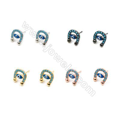 Brass Earrings  (Gold Platinum Rose Gold Gun Black) Plated  Eyes  CZ Micropave  Size 8x9mm  Pin 0.8mm  16pcs/pack