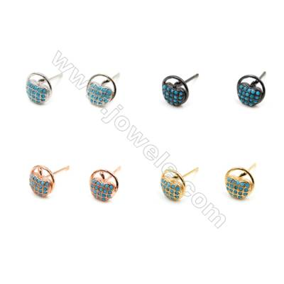 Brass Earrings  (Gold Platinum Rose Gold Gun Black) Plated  Round  CZ Micropave  Diameter 6mm  Pin 0.9mm  20pcs/pack