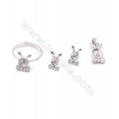 Platinum plated 925 sterling silver jewelry set findings  Rabbit ears  micro pave Cubic Zirconia  fit for half drilled beads