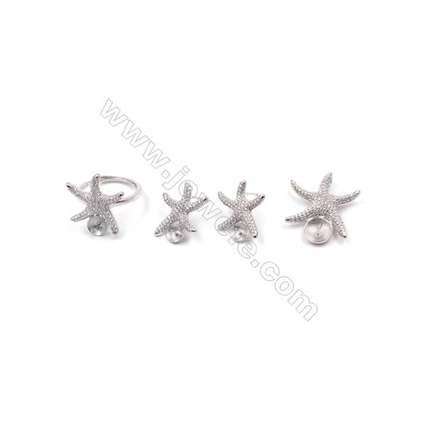 Platinum plated 925 sterling silver jewelry set findings  starfish  micro pave Cubic Zirconia  fit for half drilled beads