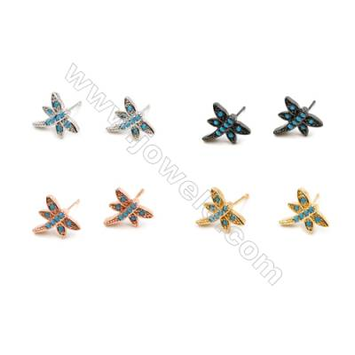 Brass Earrings  (Gold Platinum Rose Gold Gun Black) Plated  Dragonfly  CZ Micropave  Size 11x12mm  Pin 0.7mm  30pcs/pack