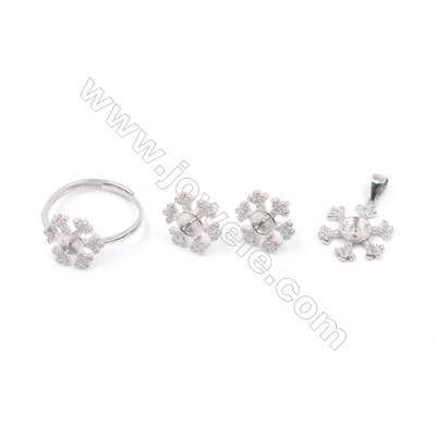 Platinum plated 925 sterling silver jewelry set findings  snowflake  micro pave Cubic Zirconia  fit for half drilled beads