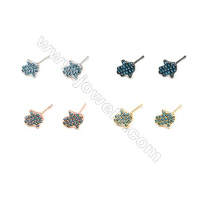 Brass Earrings  (Gold Platinum Rose Gold Gun Black) Plated  Hand  CZ Micropave  Size 6x7mm  Pin 0.7mm  20pcs/pack