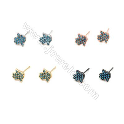Brass Earrings  (Gold Platinum Rose Gold Gun Black) Plated  Hand  CZ Micropave  Size 8x8mm  Pin 0.7mm  20pcs/pack