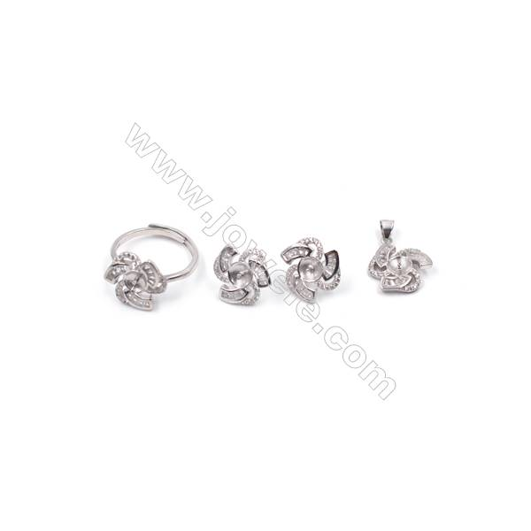 Platinum plated 925 sterling silver jewelry set findings  windmill  micro pave Cubic Zirconia  fit for half drilled beads
