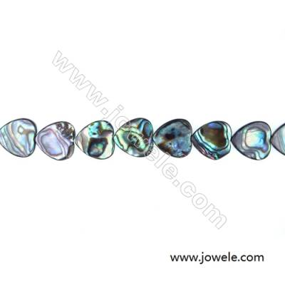Abalone/Paua Shell Bead Strands, Heart, Size 14x14 mm, Hole 0.8 mm, About 29 beads/strand, 15 ~ 16""