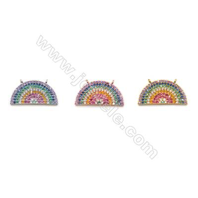 Brass Connectors, (Gold, Platinum, Rose Gold) Plated, Semicircle, CZ Micropave, Size 20x10mm, Hole 1mm, 4pcs/pack