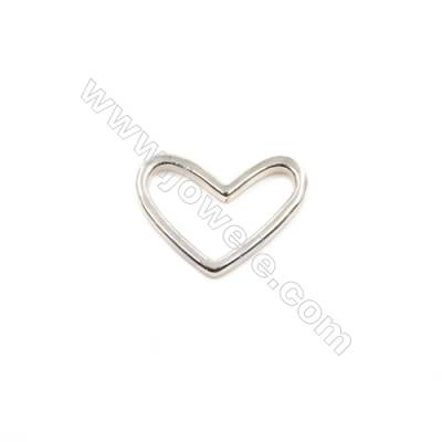925 Sterling Silver Charms  Heart  Size 12x18mm  10pcs/pack