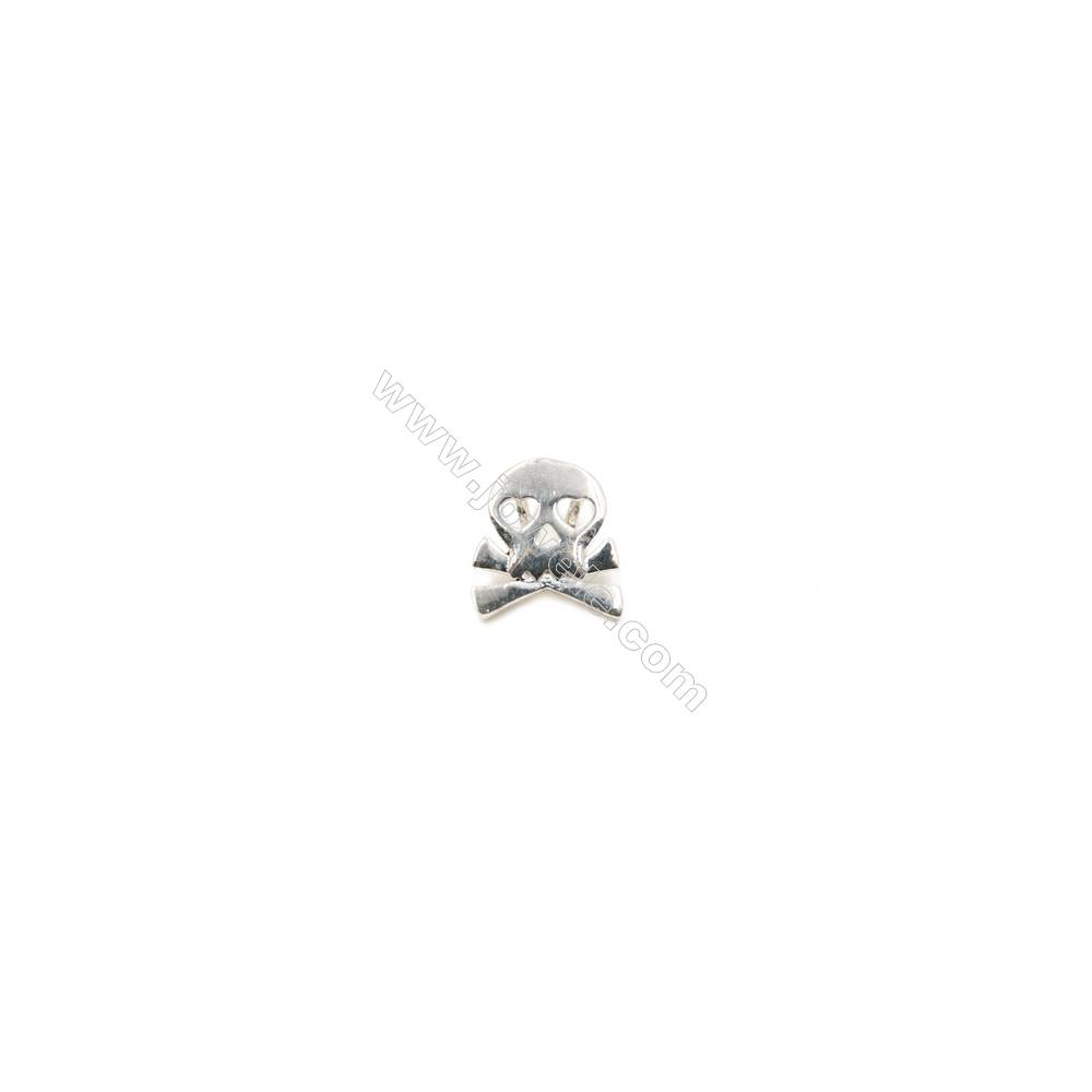 925 Sterling Silver Charms  Skull  Size 9x9mm  Hole 1.5mm  12pcs/pack