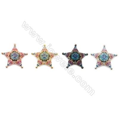 Brass Little Charms  (Gold Platinum Rose Gold Gun Black) Plated  CZ Micropave  Star  Size 26x26mm  3pcs/pack