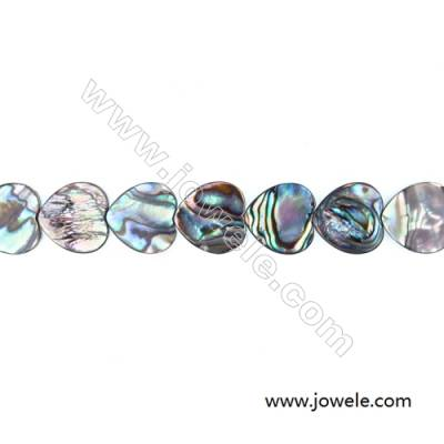 Abalone/Paua Shell Bead Strands, Heart, Size 16x16 mm, Hole 0.8 mm, About 26 beads/strand, 15 ~ 16""
