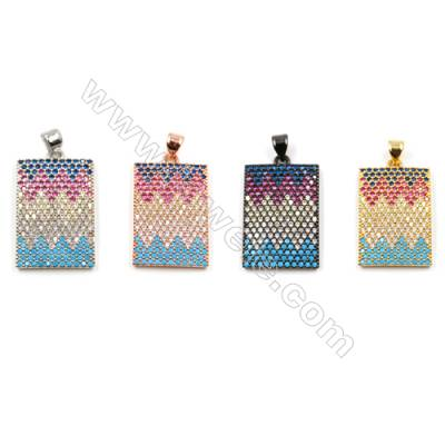 Brass Pendants  (Gold Platinum Rose Gold Gun Black)Plated  CZ Micropave  Rectangle  Size 23x16mm  3pcs/pack