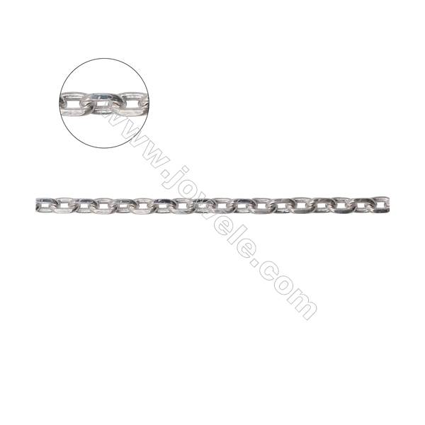 Wholesale genuine silver cable chain findings for DIY necklace making-A8S13  size 0.85x3.5x5.3mm