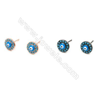 Brass inlaid with synthetic turquoise earrings  (Rose Gold Gun Black) Plated  Round  Diameter 7mm  Pin 0.8mm  16pcs/pack