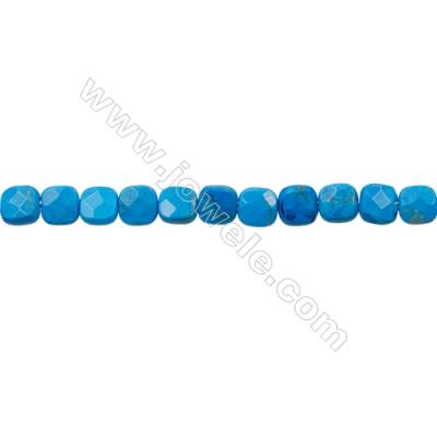 Natural Turquoise Strand Beads  Square(Faceted)  Size 6x6mm  Hole 0.6mm  66 beads/strand  15-16""