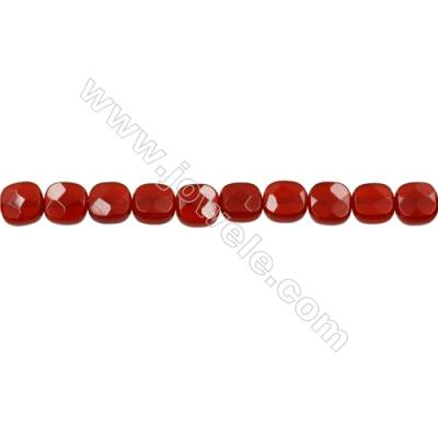 Natural Red Agate Strand Beads  Square(Faceted)  Size 6x6mm  Hole 0.6mm  66 beads/strand  15-16""